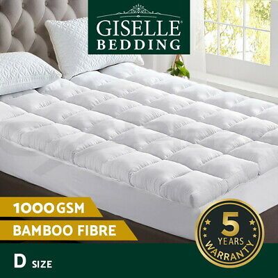 Giselle Bedding Bamboo Pillowtop Mattress Topper Fibre 1000GSM PadCover DOUBLE
