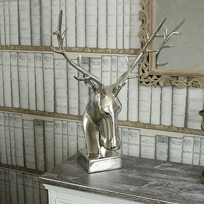 Polished Silver finish metal chrome Standing Stag Head deer ornament decoration