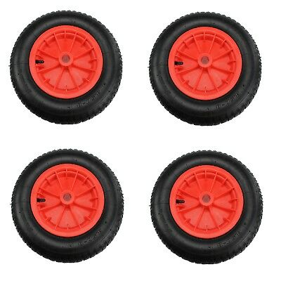 "4 Red 14"" Pneumatic Sack Truck Wheelbarrow Tyres Trolley Wheel Cart Tyre Wheels"