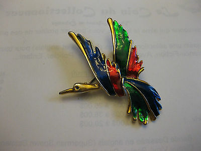 Stunning Gold-Tone Colorful  Finish  Bird Of Paradise Brooch