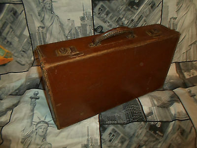 """1940s Small Old Brown Antique Leather Suitcase 18"""" Vintage Car Boot Case WWII"""