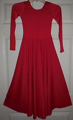 NWOT Dance Red Long Sleeve Spandex Full Circle Praise Dress Adlt/Ch Szs 76176