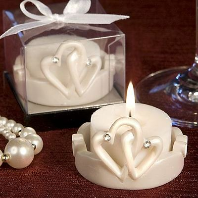 Set of 6 Interlocking Hearts Design Favour Saver Candles