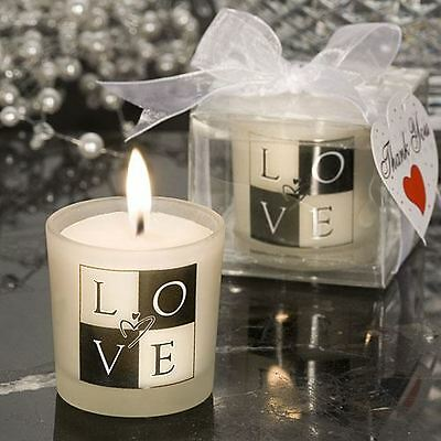 Set of 6 Love Design Candle Wedding & Party Favours Black & White