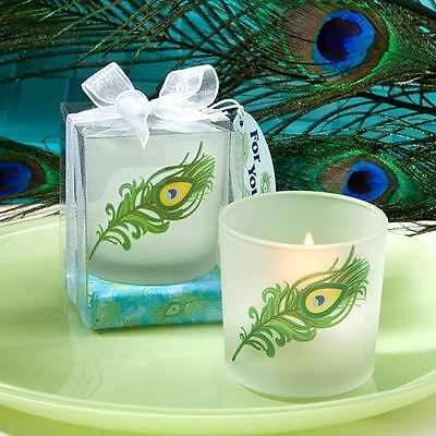 Set of 6 Unique Peacock Feather Design Candle Holder Wedding & Party Favours