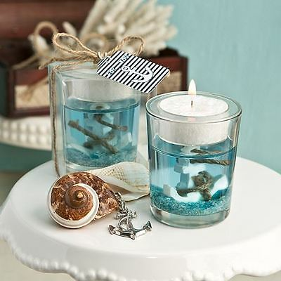 6 X Nautical Themed Gel Candle Holder With Anchor Wedding & Party Favours Blue