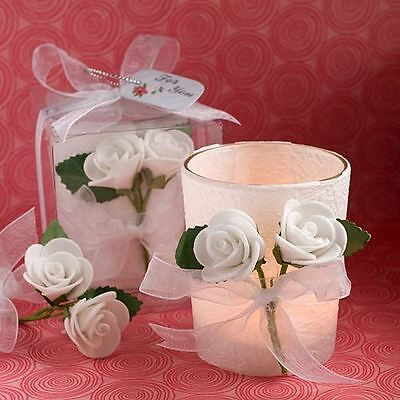 Set of 6 White Rose Candle Wedding & Party Favors White