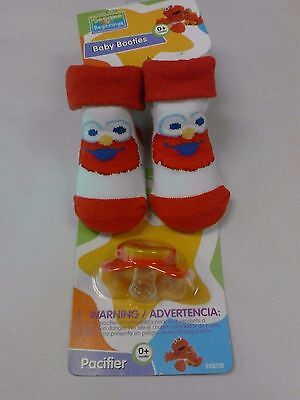 BABY Elmo Sesame Street Lot Of 2  Booties &  Pacifier  NIP NEW Great Gift