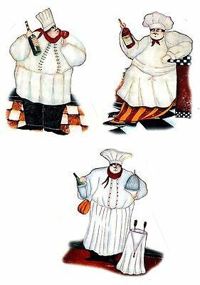 "3 French Chef 4"" Waterslide Ceramic Decals Xx"