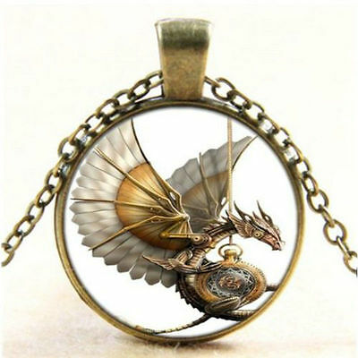 1x Vintage Steampunk Dragon Photo Cabochon Glass Bronze Pendant Necklace Chain E