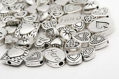Mixed 45g About 70pcs Tibetan Silver Heart Spacer Beads Wholesale Jewelry DIY