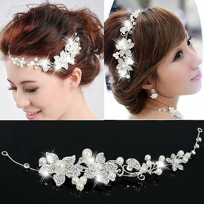 Wedding Party Bridal Bridesmaid Headband Tiara Crystal Diamante Flower Pearl Gif