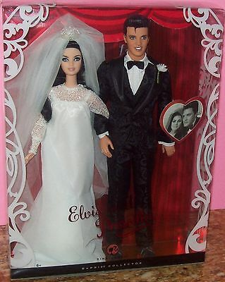 Elvis Presley and Priscilla 2008 Wedding Day Barbie 2 Doll Set/Mint Condition