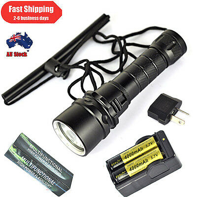6000Lm Diving Flashlight XM-L2 LED hunting hiking Torch 2X18650+Charger TO 100M