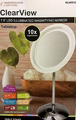"""ClearView 7.5"""" LED Illuminated 10x Magnifying Mirror MLMIR105 Make Up Vanity"""