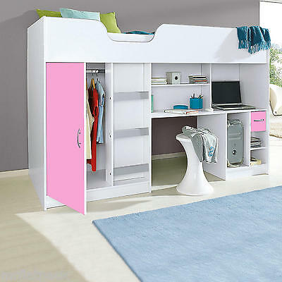 Lifestyle Single High Sleeper Childrens Cabin Bed White And Pink R140Wp