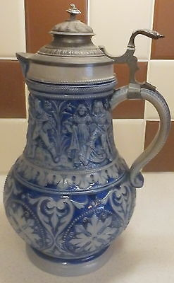 Quality Large Westerwald  Lidded Beer Jug  With Interesting Design To Body