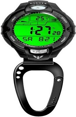 Dakota Clip Watch UV/Temp Sensor Features lightweight black plastic casing with