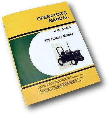 John Deere 160 Rotary Mower Owners Operators Manual Fits 650 750 Lawn Tractor Jd
