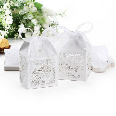 10/50/100pcs Wedding Party Favor Butterfly Paper Candy Gift Boxes With Ribbon