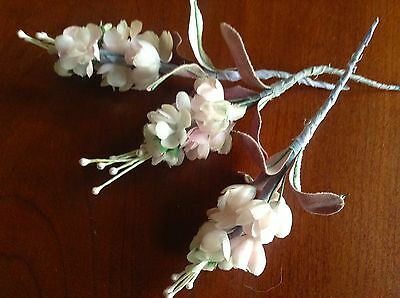 Vintage Millinery Flower lot of3 Doll Size Pale Pink NM6