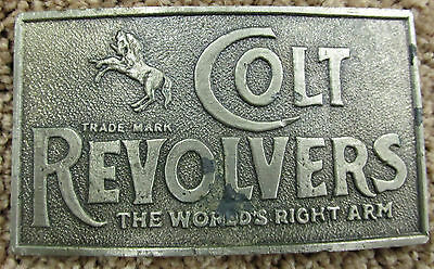 Vintage COLT REVOLVERS THE WORLD'S RIGHT ARM BELT BUCKLE HORSE