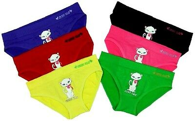 6 pk Girls Seamless Bikinis Panties Cute KITTY CAT G182P Underwear S~L