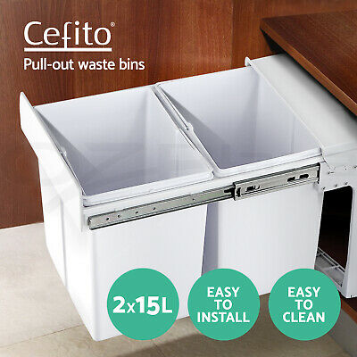 2X15L Twin Pull Out Bin Slide Garbage Kitchen Double Dual Rubbish Waste Basket