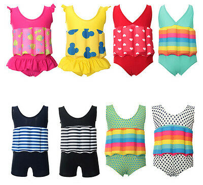 HE Kid's Free Learning to Swim Float Suit Adjustable Sun Protection UV Swimsuit