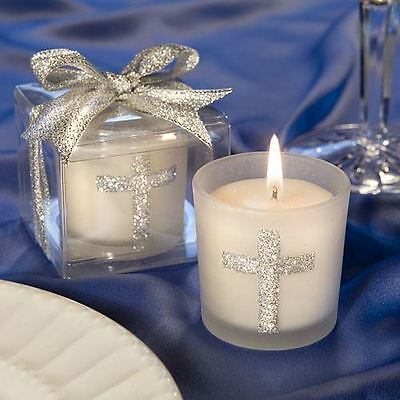 Set of 6 Silver Cross Themed Candle Baptism Christening Confirmation Favours