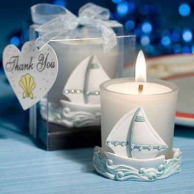 Set of 6 Nautical Themed Candle Wedding & Party Favors
