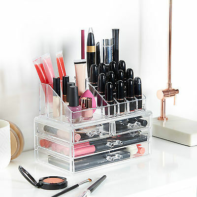 Beautify Acrylic Make Up Organiser Clear 4 Drawer Cosmetic Display Storage Table