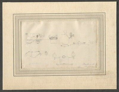 1864 Original Antique Drawing Horse Carriage Coaching Charles Cooper Henderson