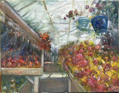 Central New York Greenhouse Original Oil on canvas 11x14 in. Hall Groat Sr.