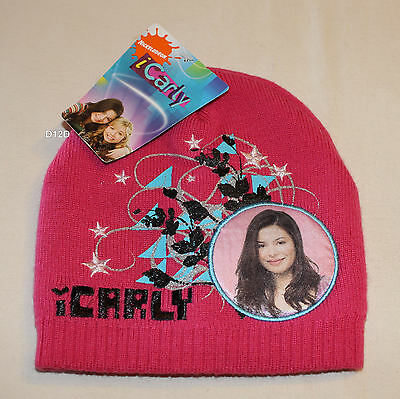 Nickelodeon iCarly Girls Pink Embroidered Acrylic Beanie Size 7 - 10 New