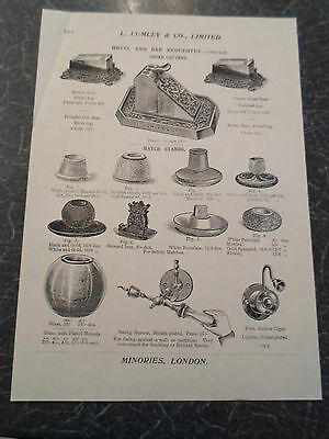 CIGAR CUTTERS, MATCH STANDS Images Copy Print Lumley & Co Minories London #514
