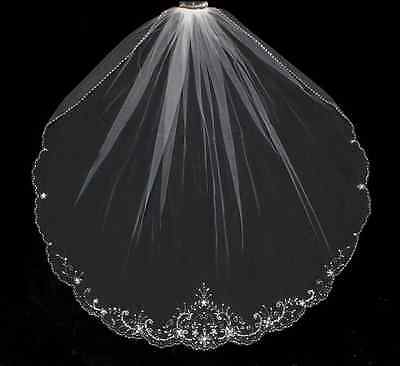 Beaded Fingertip Length Wedding Veil with Delicate Floral Embroidery