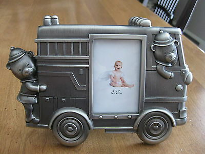Pewter Finish Fire Engine Baby  Picture Frame