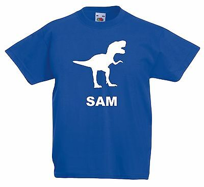 Personalised Dinosaur T Shirt. Choice of T Shirt Colours. Free Postage.