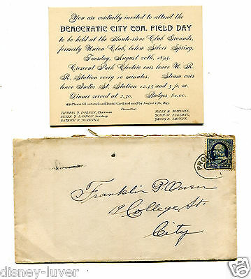Vintage Invitation 1895 Providence RI  DEMOCRATIC CITY COMMITTEE FIELD DAY