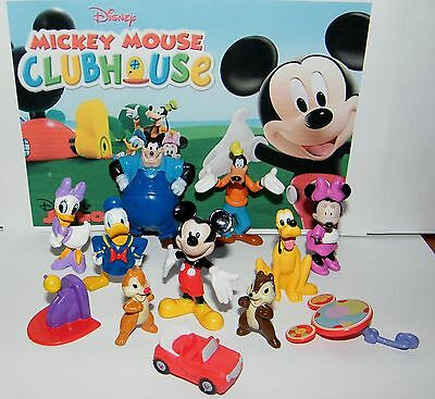 Disney Mickey Mouse Clubhouse Figure Set of 12 -Donald Goofy, Car, Chip Etc