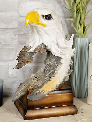 Large Glorious Surveyor Of Horizons Grand Bald Eagle Bust Statue Decor Figurine
