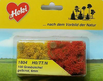 Yellow Red Grass Tufts  ~ Scenery For Model Rail Ho / N Scale, Heki 1804, New