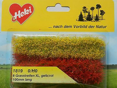 Yellow Red Grass Strips~ Scenery For Model Rail Ho / N Scale, Heki 1819, New