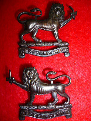 Scarce Herefordshire Light Infantry Officer's Bronze Collar Badge Pair, #2017