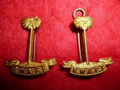 Royal West African Frontier Force Regiment Officer's Collar Badge Pair, Gilt