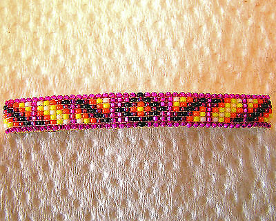 "Handmade Beaded Barrette. Very Nice Beadwork Navajo Indian 2 3/4"" Eva Nathaniel"