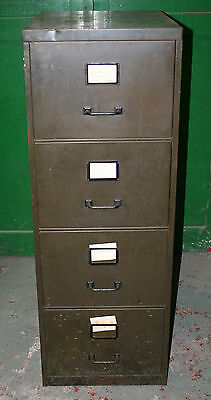 ~Vintage ~ Military Green ~4 Drawer ~Filing Cabinet~ ~Circa 1960's ~ VGC~