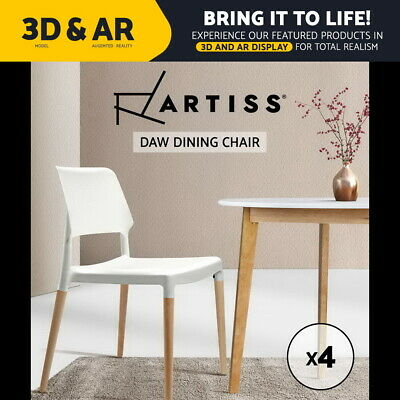 4x Artiss Belloch Replica Dining Chairs Stackable Designer Wooden Bar Kitchen