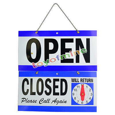 OPEN CLOSED WILL RETURN CLOCK SIGN 29 x 14 cm Window Store w/ Time Hanging Chain